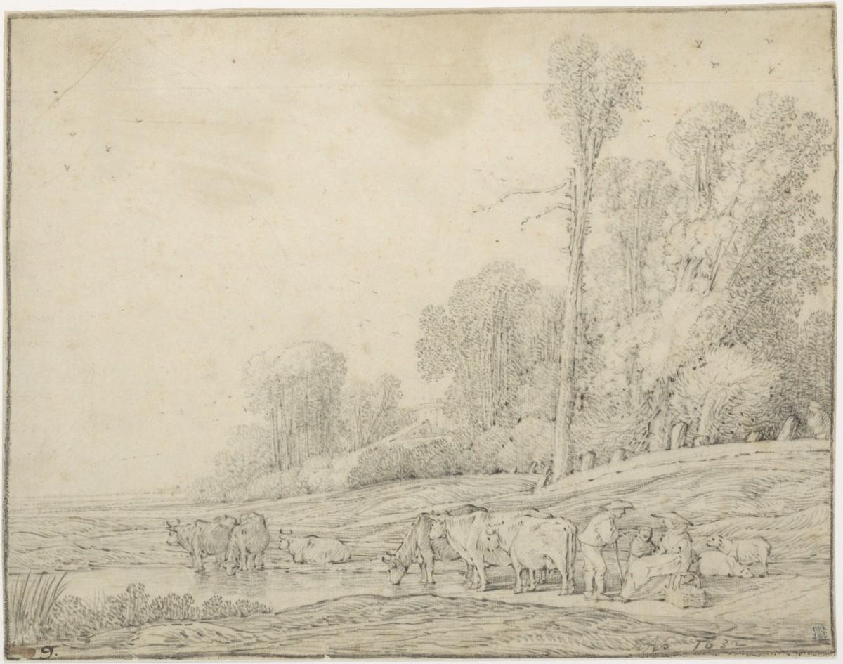 Landschap Met Koeien Gesigneerd En 1632 Gedateerd Zwart Krijt, 210 X 257 Mm. Gemeentearchief Haarlem