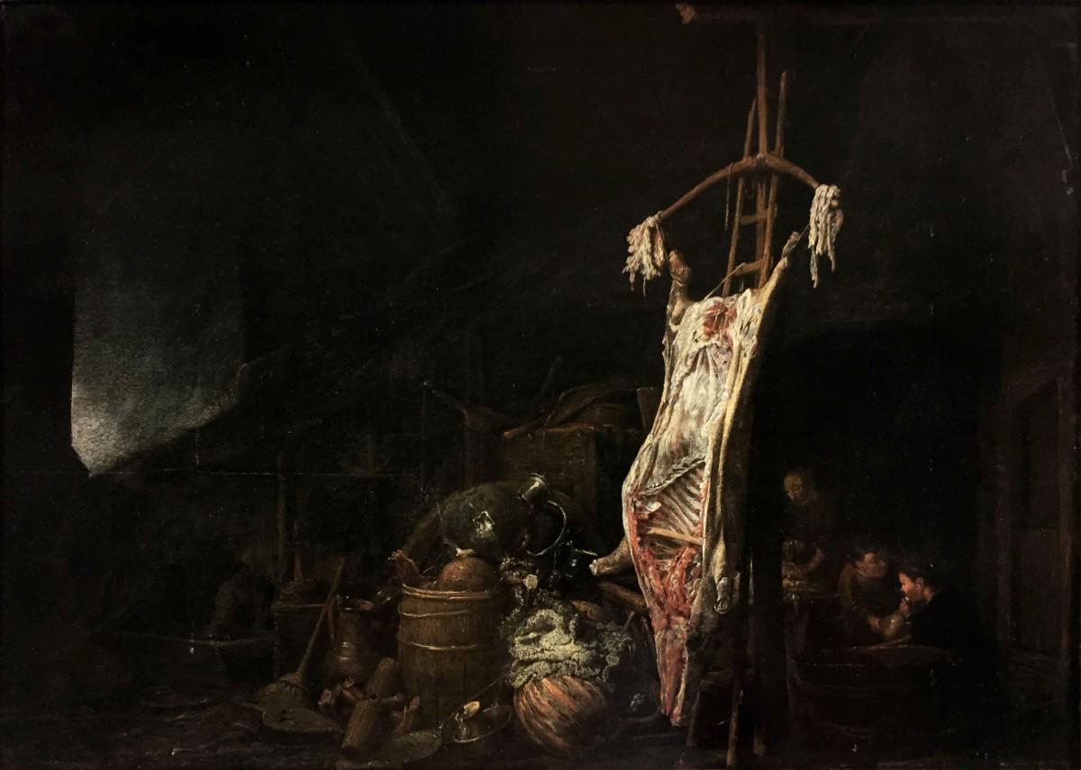 Boereninterieur Met Geslacht Varken Gesigneerd En 1642 Gedateerd Olieverf Op Paneel, 57,5 X 82,5 Cm Goedaert Collectie, Krimpen A.d. IJssel