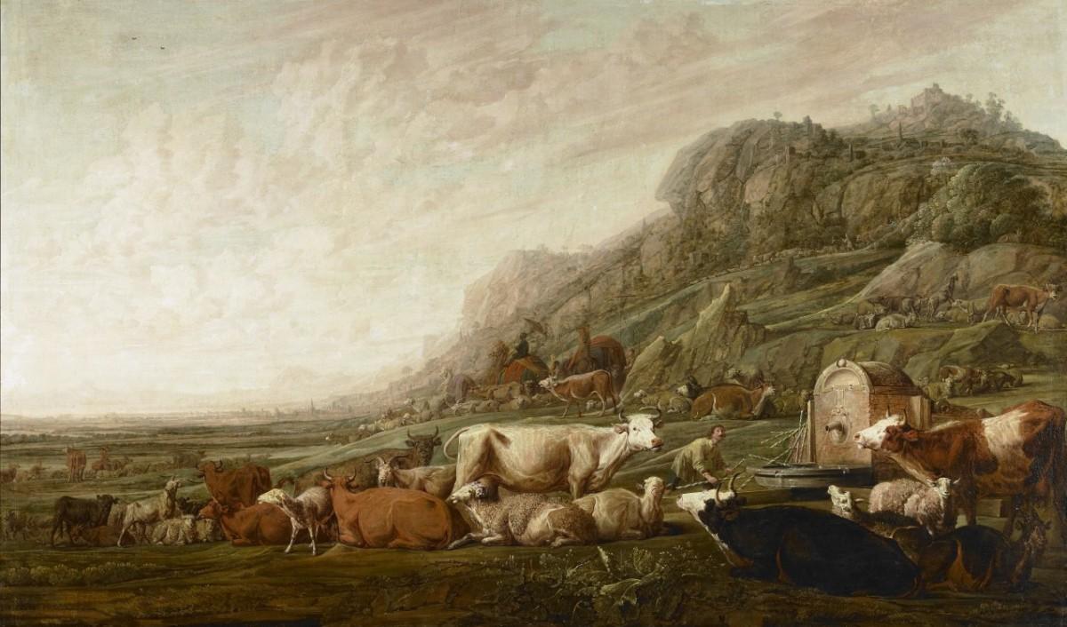 Jacob Hoedt De Kudde Van Laban Gesigneerd En 1642 Gedateerd Olieverf Op Doek, 125 X 211 Cm Middelburg, Zeeuws Museum, Aangekocht Met Steun Van De Vereniging Rembrandt, 1987
