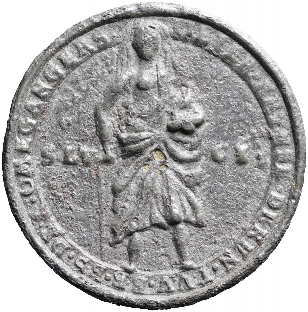 Tinnen Penning Van Het Sint Luciagilde, Zierikzee 1691 (keerzijde) Nationale Numismatische Collectie, Amsterdam